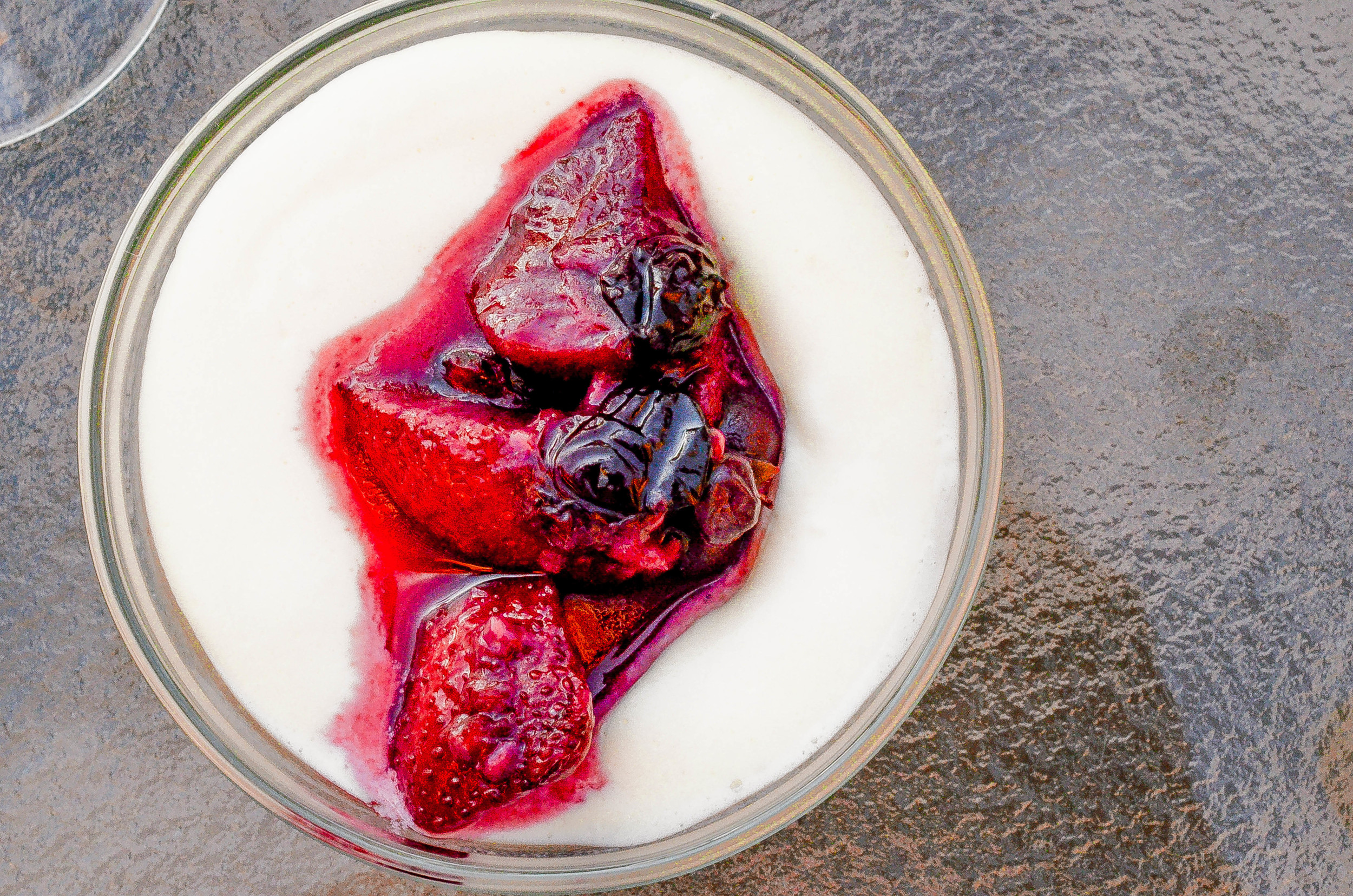 sweet corn semifreddo with berry compote