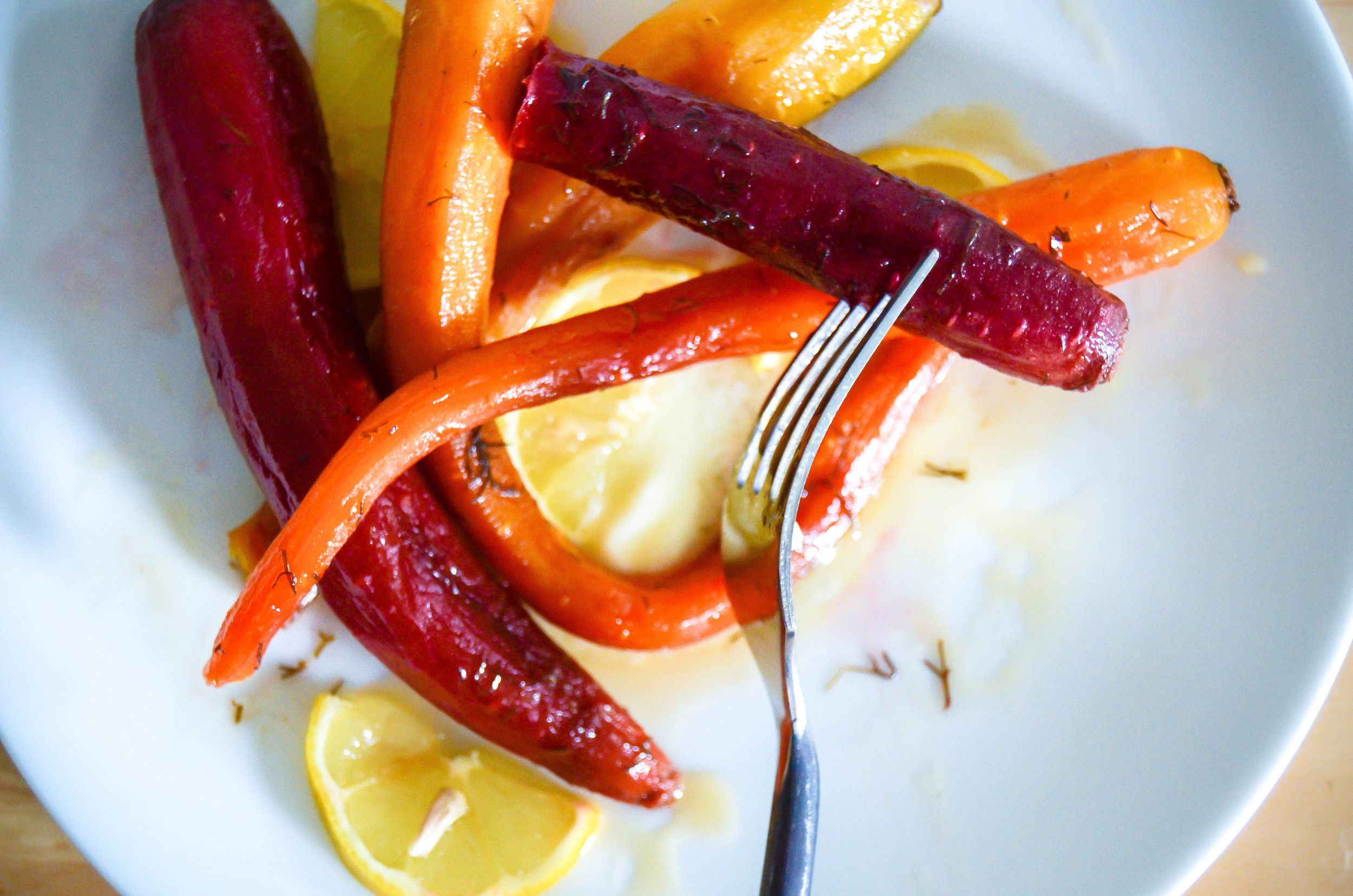 roasted rainbow carrots with preserved lemon butter & honey