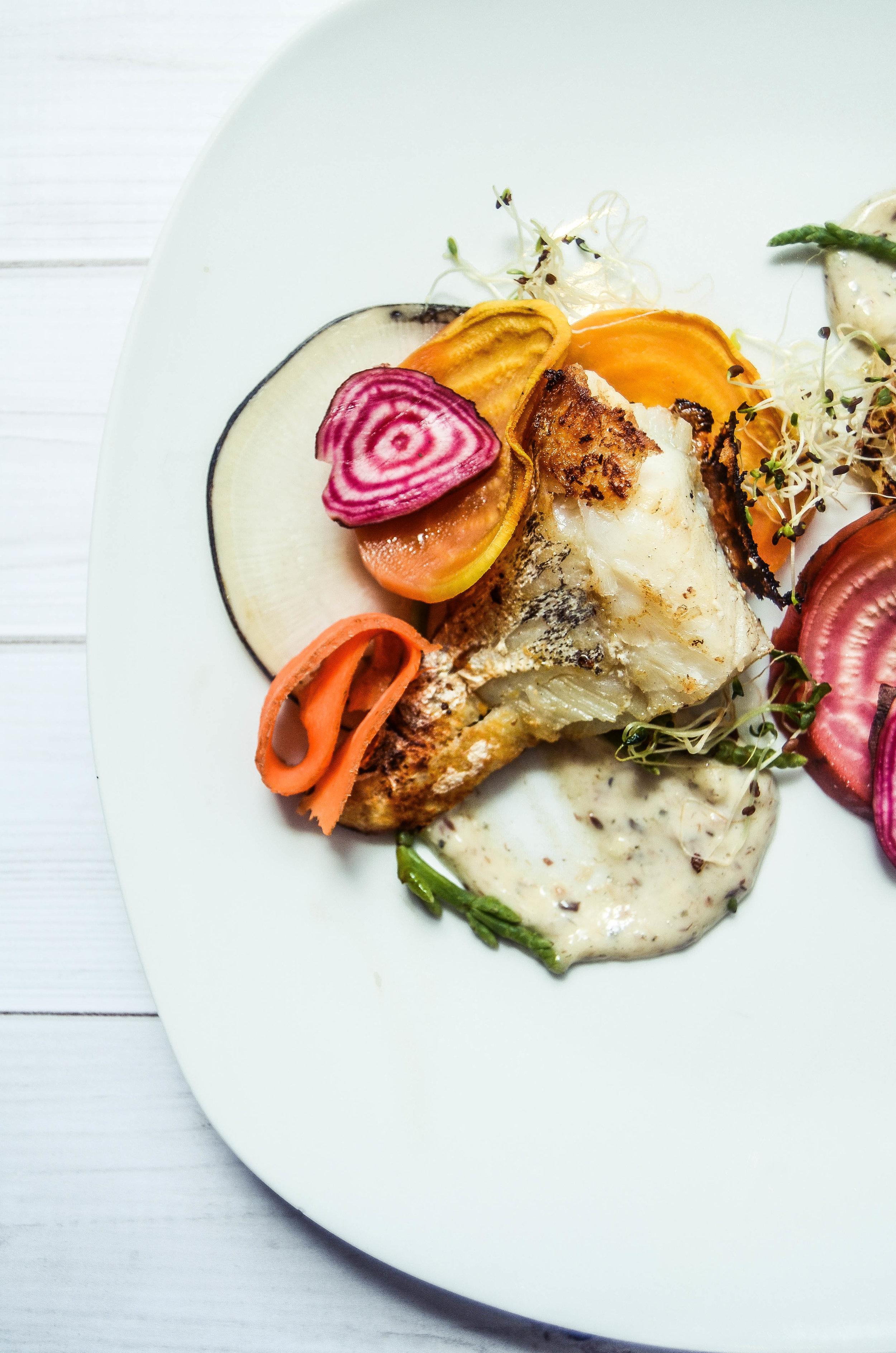 cod with beets, aioli, and black radish