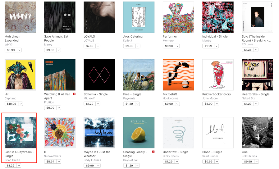 Lost In A Daydream featured on iTunes Alternative New Music page