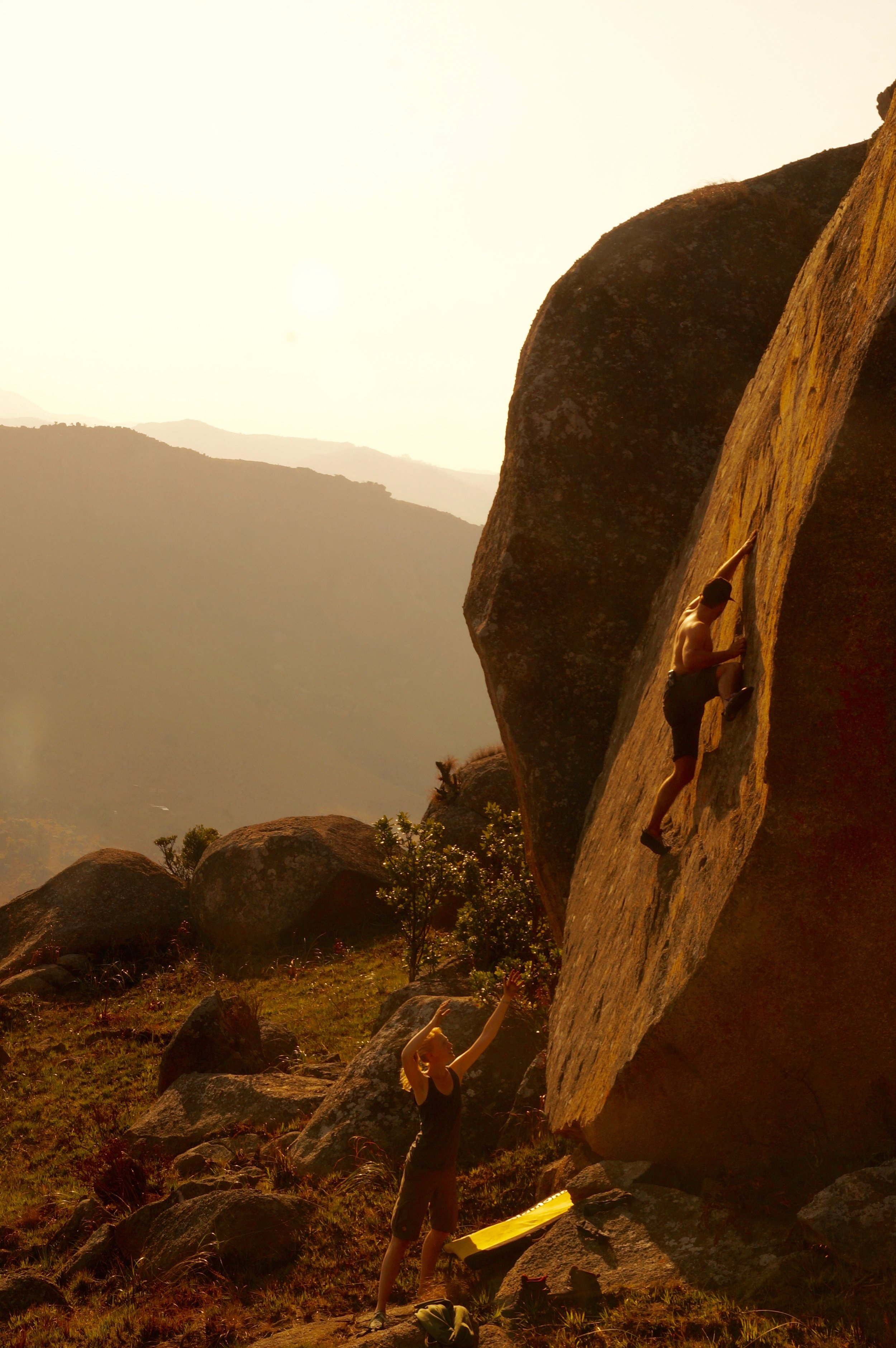 * Flo Muthwill getting high off-the-deck on a new highball boulder