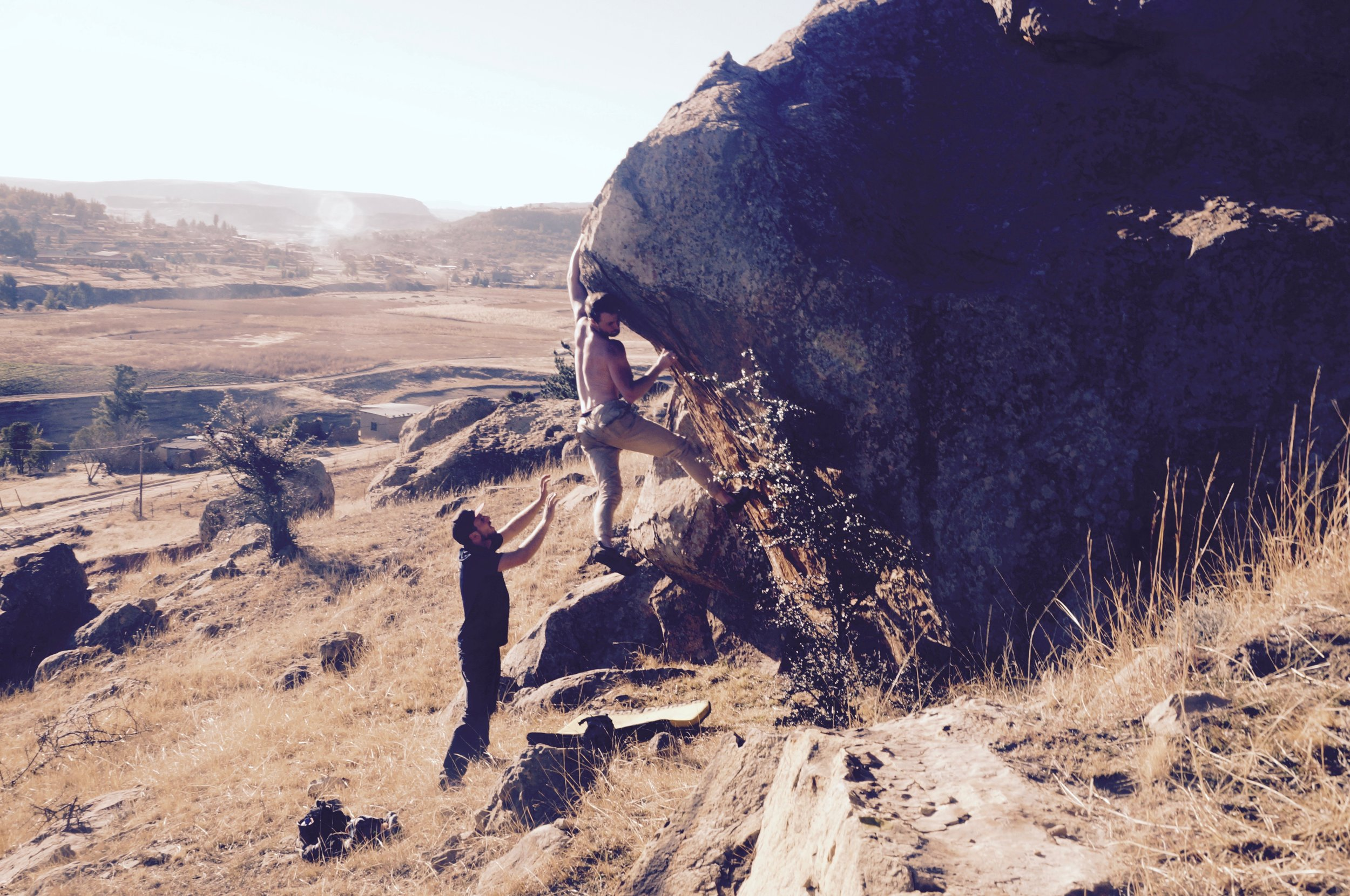 * The author discovering a new boulder outside Butha Buthe.
