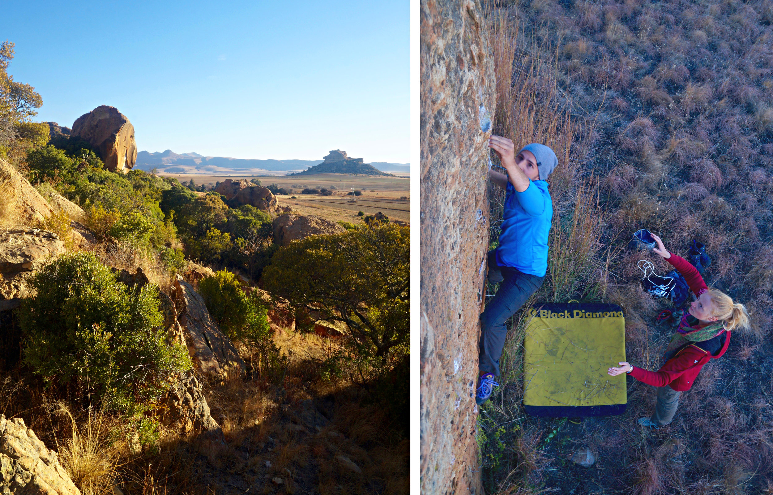 * Free State beauty                                                                  *Flo Muthwill crimpin on a virgin boulder