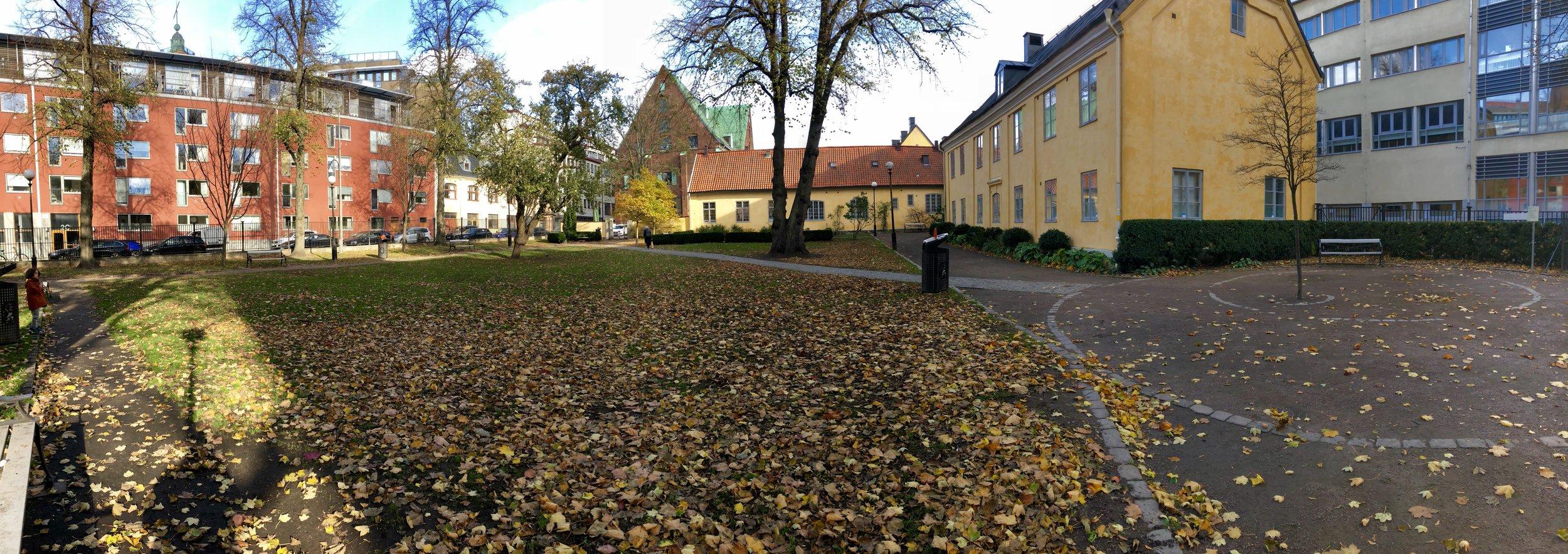 Kronhuset (rakt fram), Kronhusbodarna på Postgatan (gula byggnaderna) samt den idylliska parken intill.