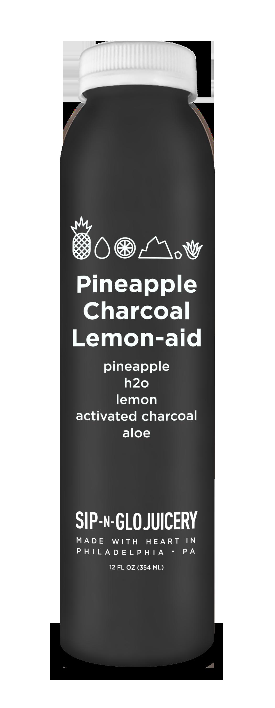 Sip-N-Glo Cold-Pressed Juice Pineapple Charcoal Lemon-aid