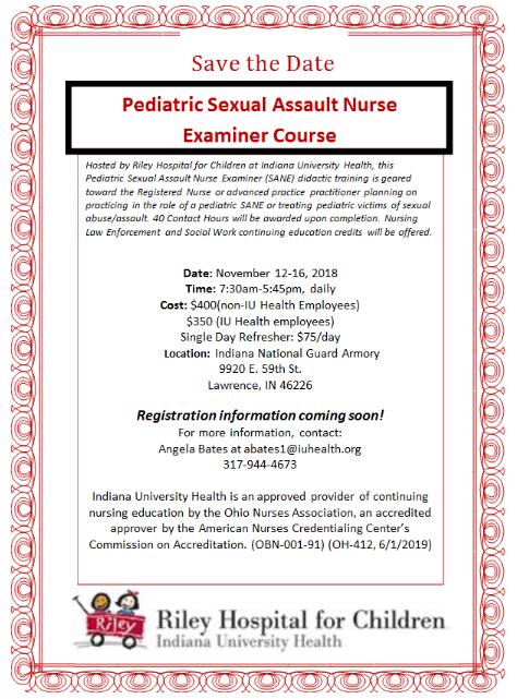 November 12-16, 2018- Sexual Assault Nurse Examiner