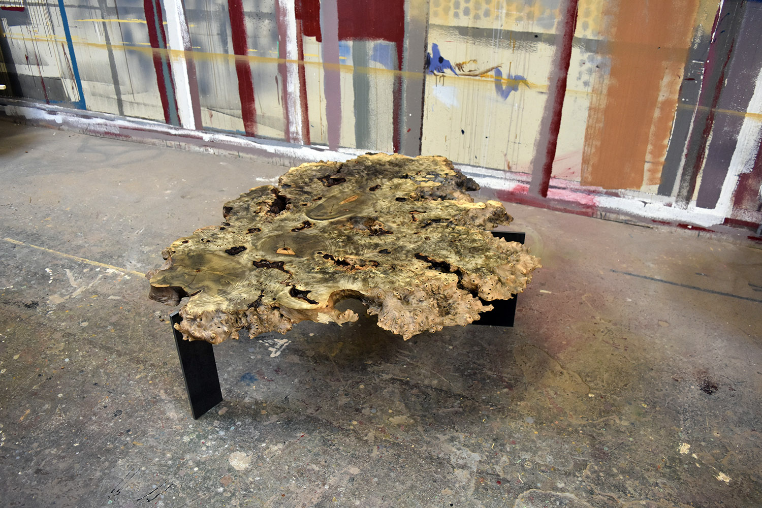 """Materials: Buckeye Burl and Steel   Slab Thickness: 2.63""""   Size (LxWxH): 45""""x48""""x16.13""""   Weight: 61 lbs."""