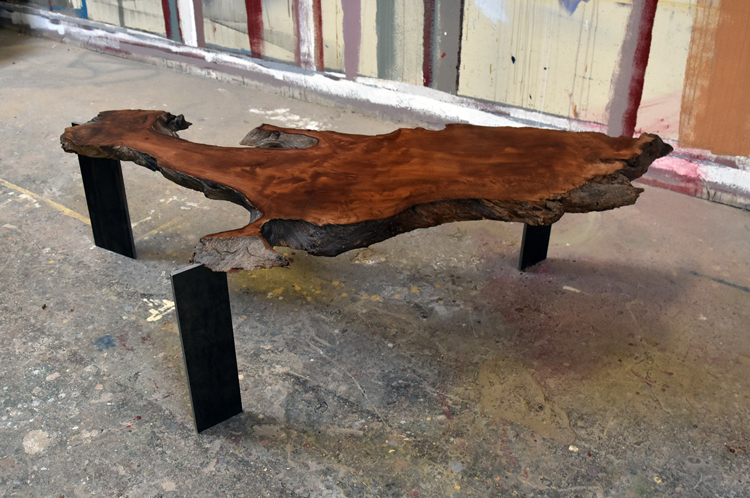"""Materials: Redwood and Steel   Slab Thickness: 1.7""""   Size (LxWxH): 58.5""""x28""""x15.63""""   Weight: 44 lbs."""