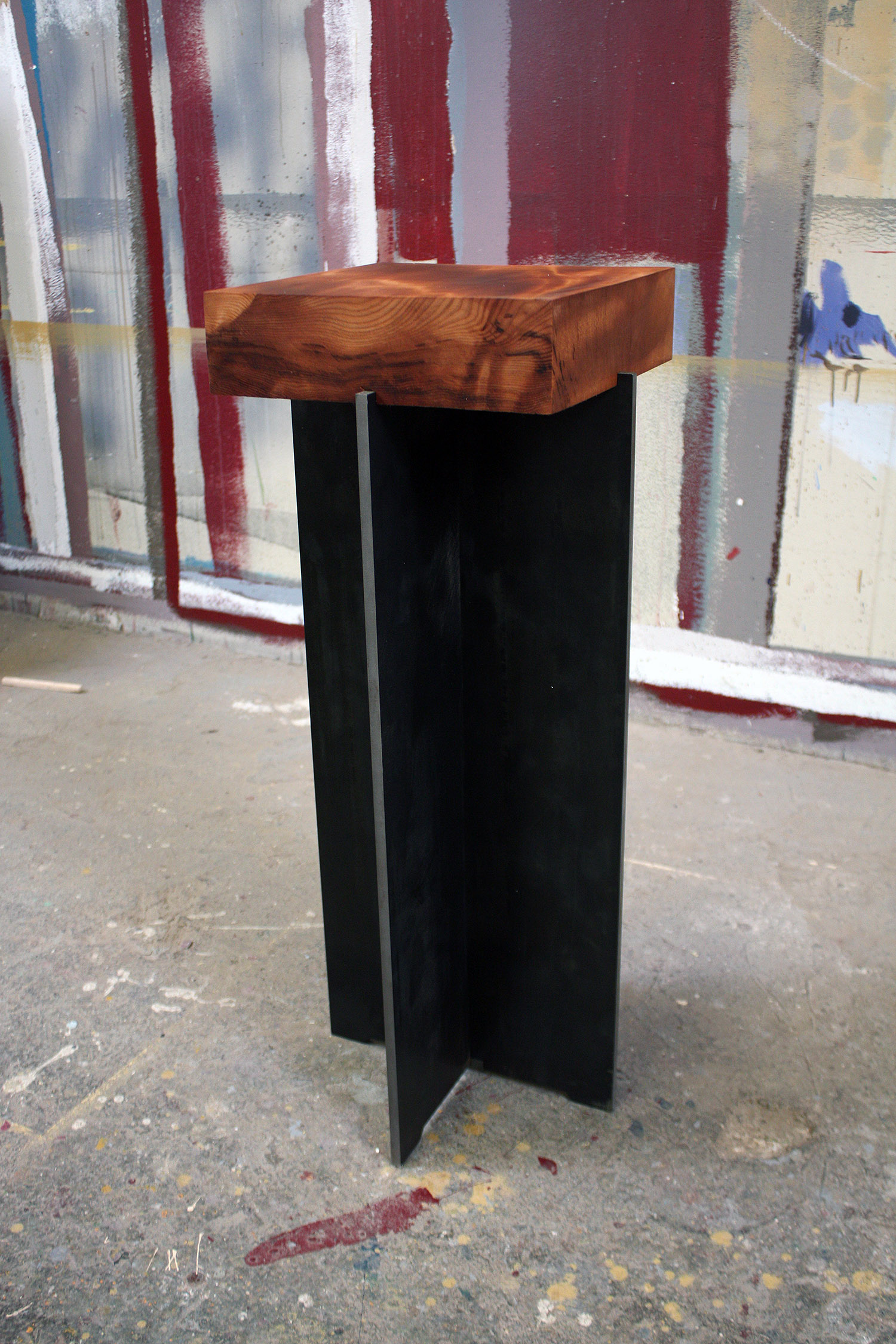 "Materials: Curly Redwood and Steel     Slab Thickness: 3""     Size (  LxWxH  ): 12""x12""x29.5""     Weight: 74 lbs  ."