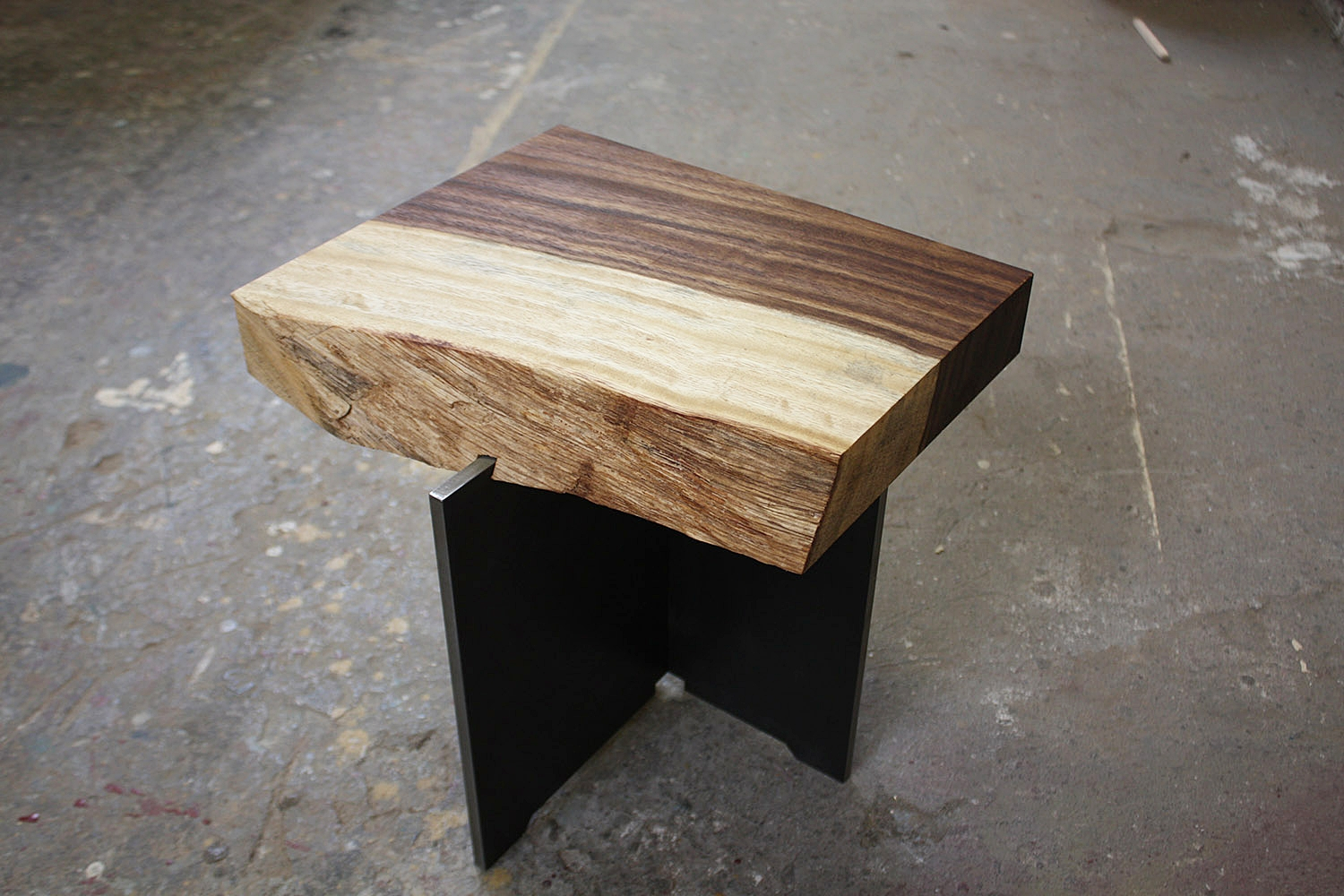 """Materials:  Guanacaste and Steel     Slab Thickness: 2.13""""     Size (  LxWxH  ): 14""""x12.5""""x14""""     Weight:37 lbs  ."""