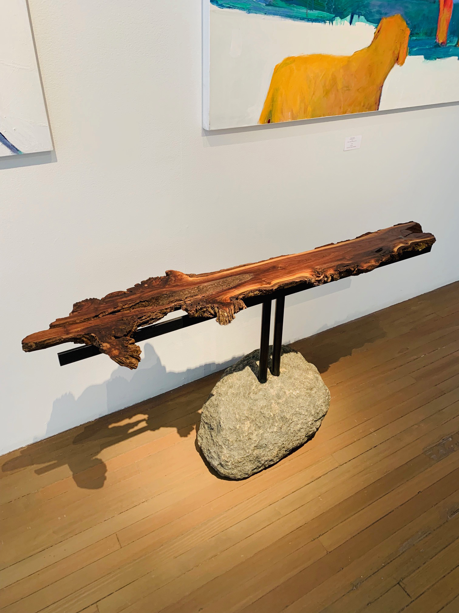 """Materials: Walnut, Glacial Boulder and Steel   Slab Thickness:1.5""""   Size (LxWxH): 61.5""""x16""""x28.5""""   Weight: 225 lbs."""