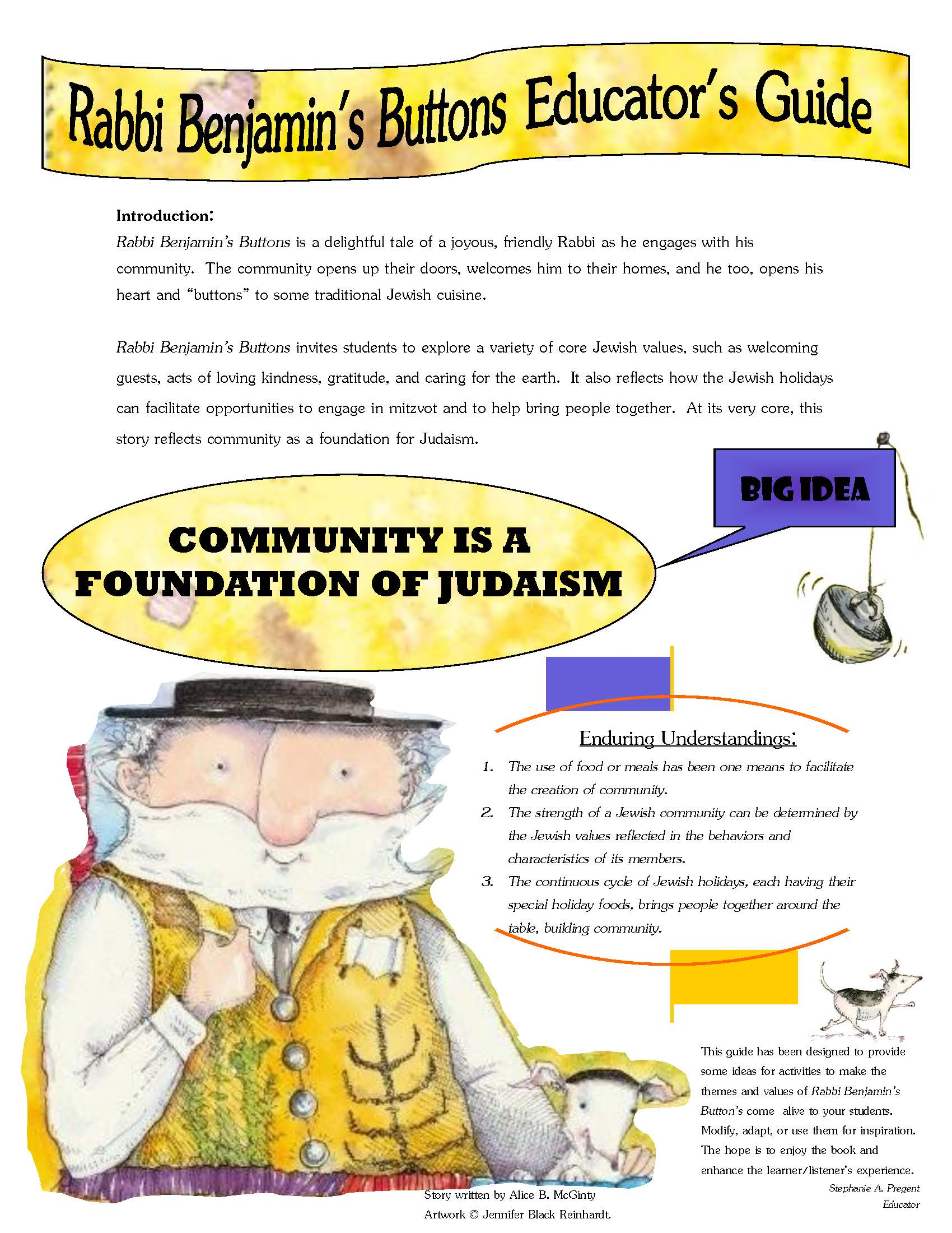 Rabbi Benjamin's Buttons - Includes different activities from bingo, charts, food collage, and many more!