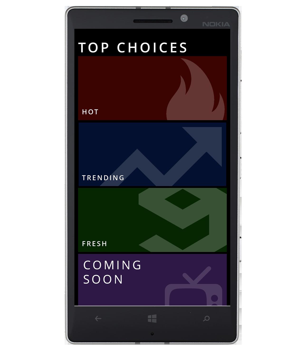 Dark themed start screen