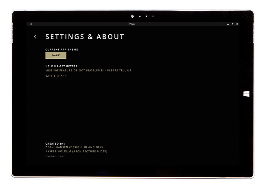 9gag settings, change theme, dark theme