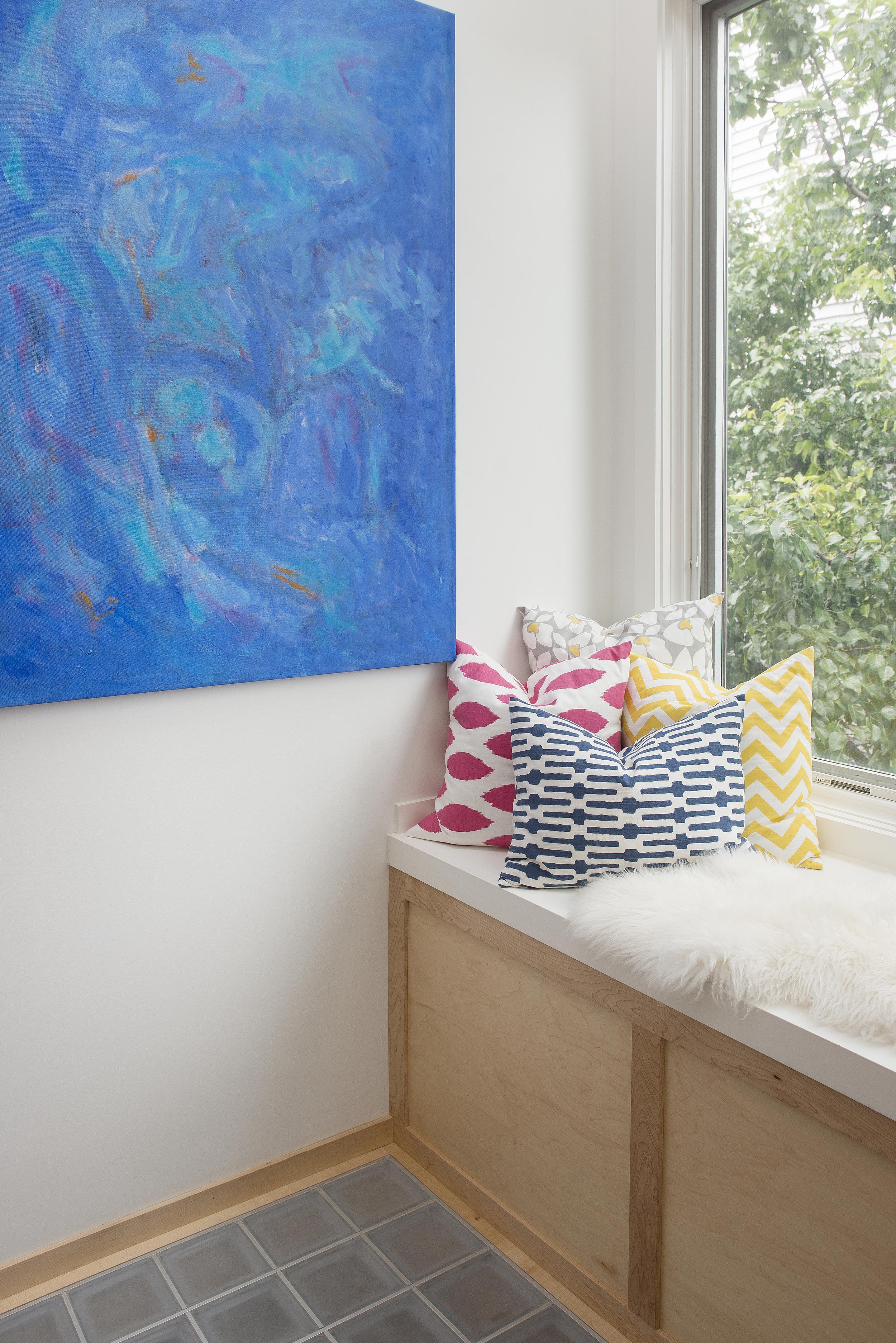 Custom window seat, Cambridgeport Project. Artwork by Priscilla Hayes