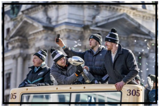 This photo from the Daily News in Philadelphia captures yesterday's parade, with Nick Foles passing the Vince Lombardi trophy to Carson Wentz, while Nate Sudfeld takes a pic of the huge crowd. Only one of these three quarterbacks took a snap Sunday, but they were all an integral part of the team … and will be wearing the Super Bowl ring.