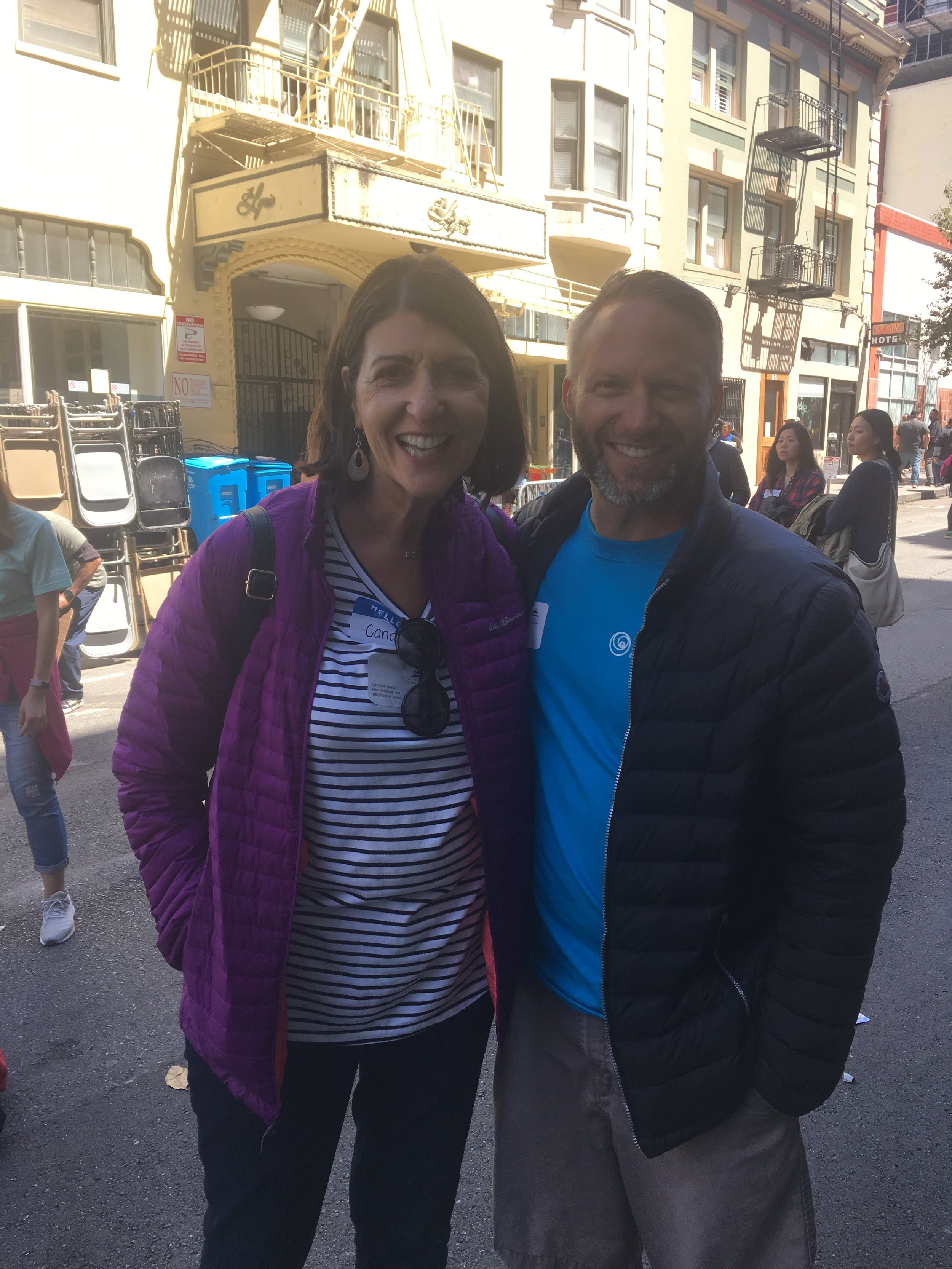 Candace and her favorite Paso Robles chiropractor on the streets of San Francisco.