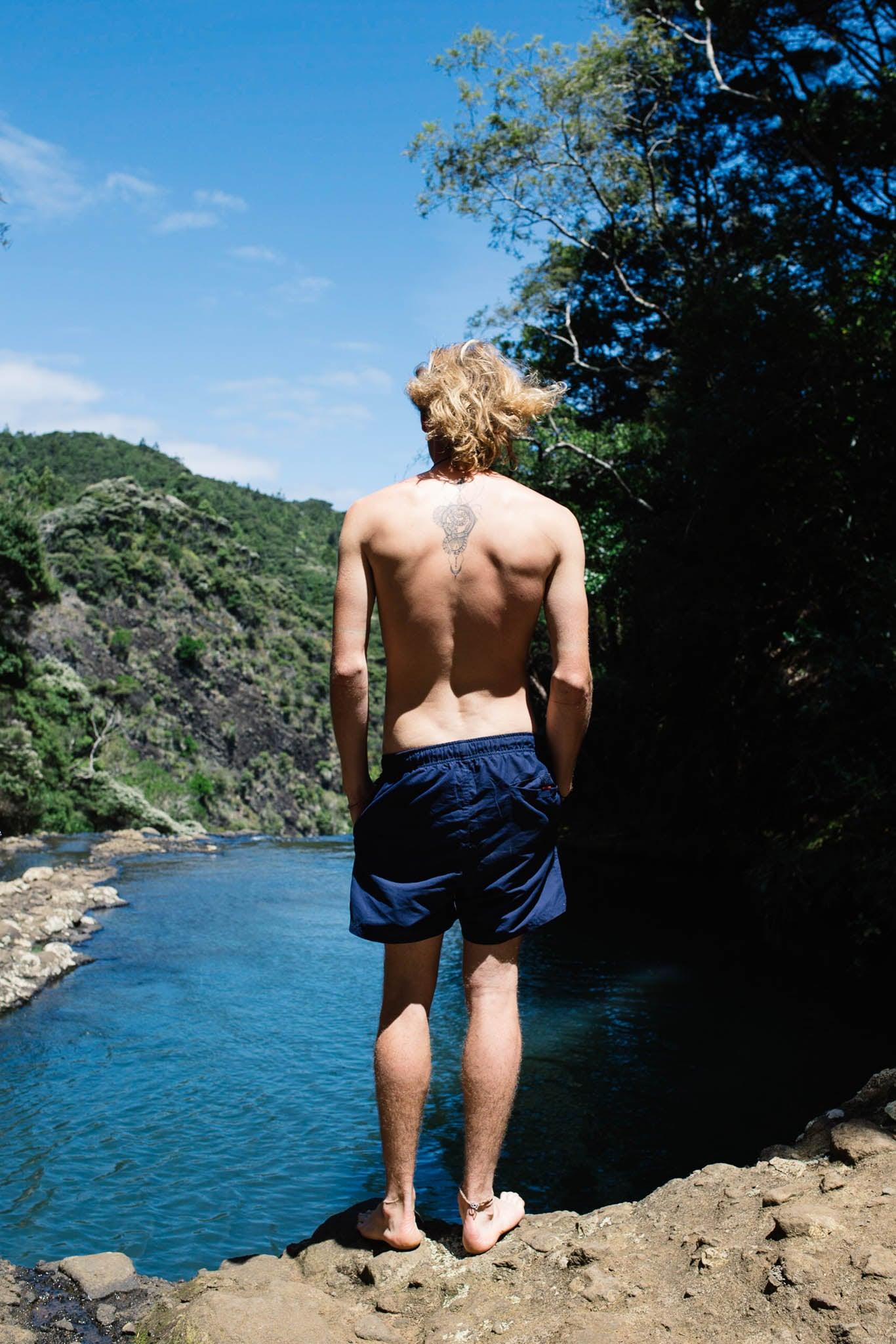 Elliot at Kitekite Falls