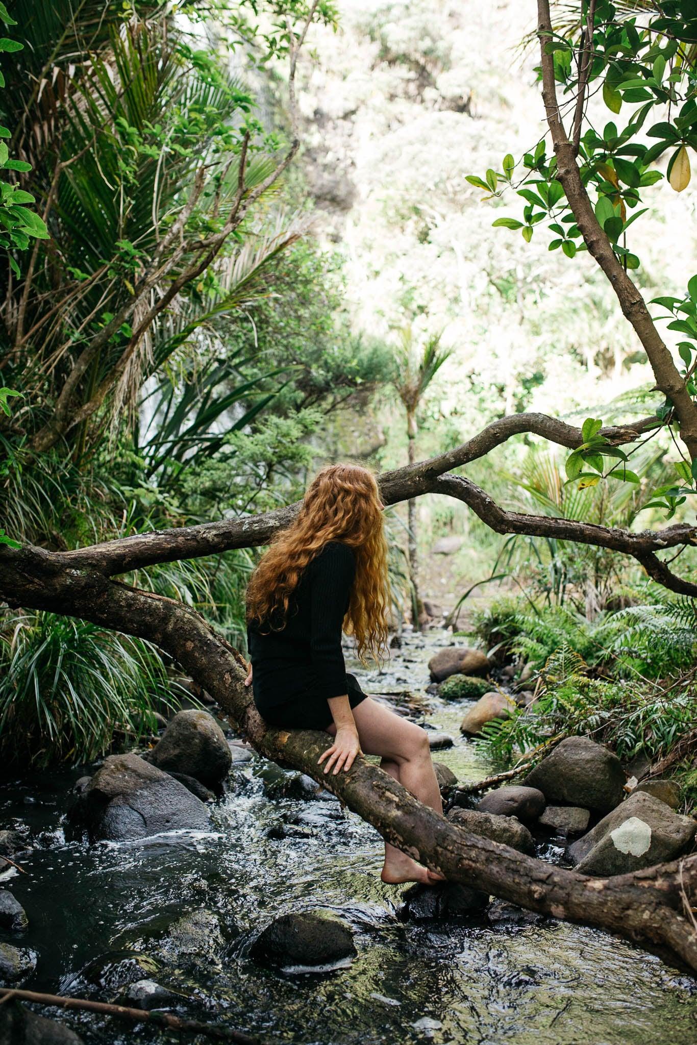 Caitlin at Karekare Falls