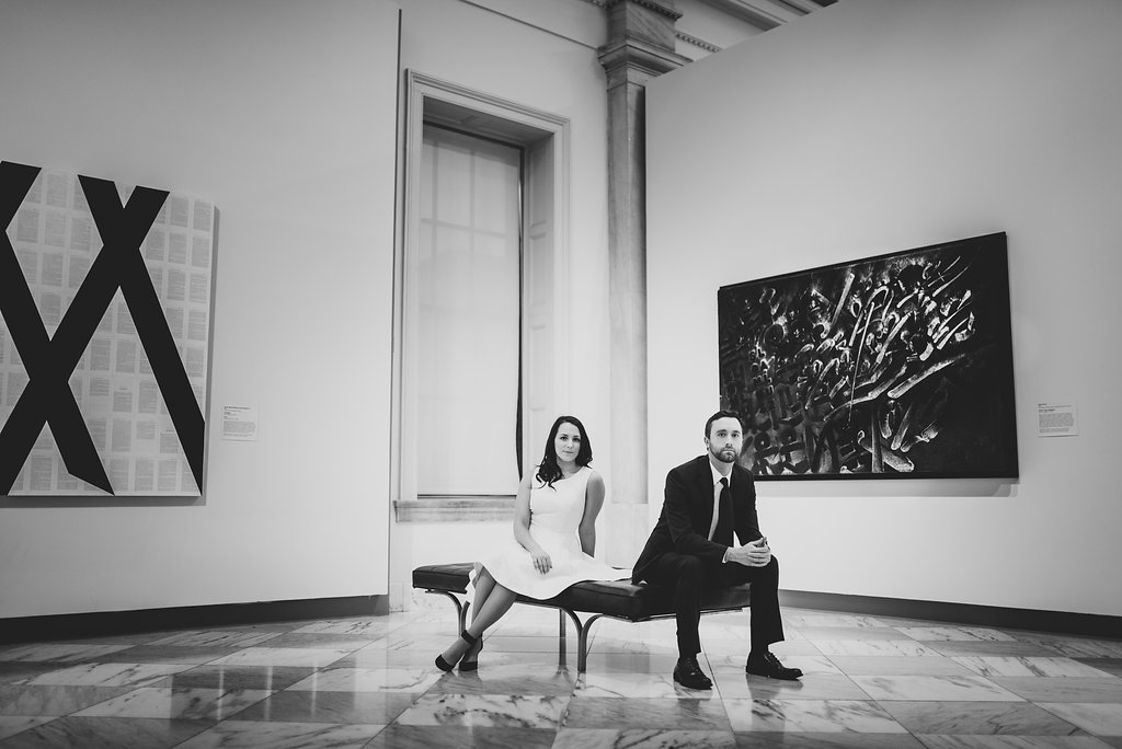 black and white powerful engagement portrait at the american art museum