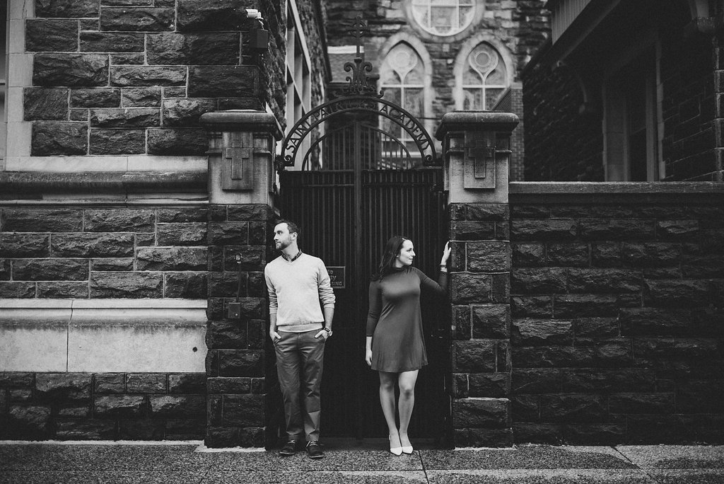 black and white moody engagement portrait on the streets of dc
