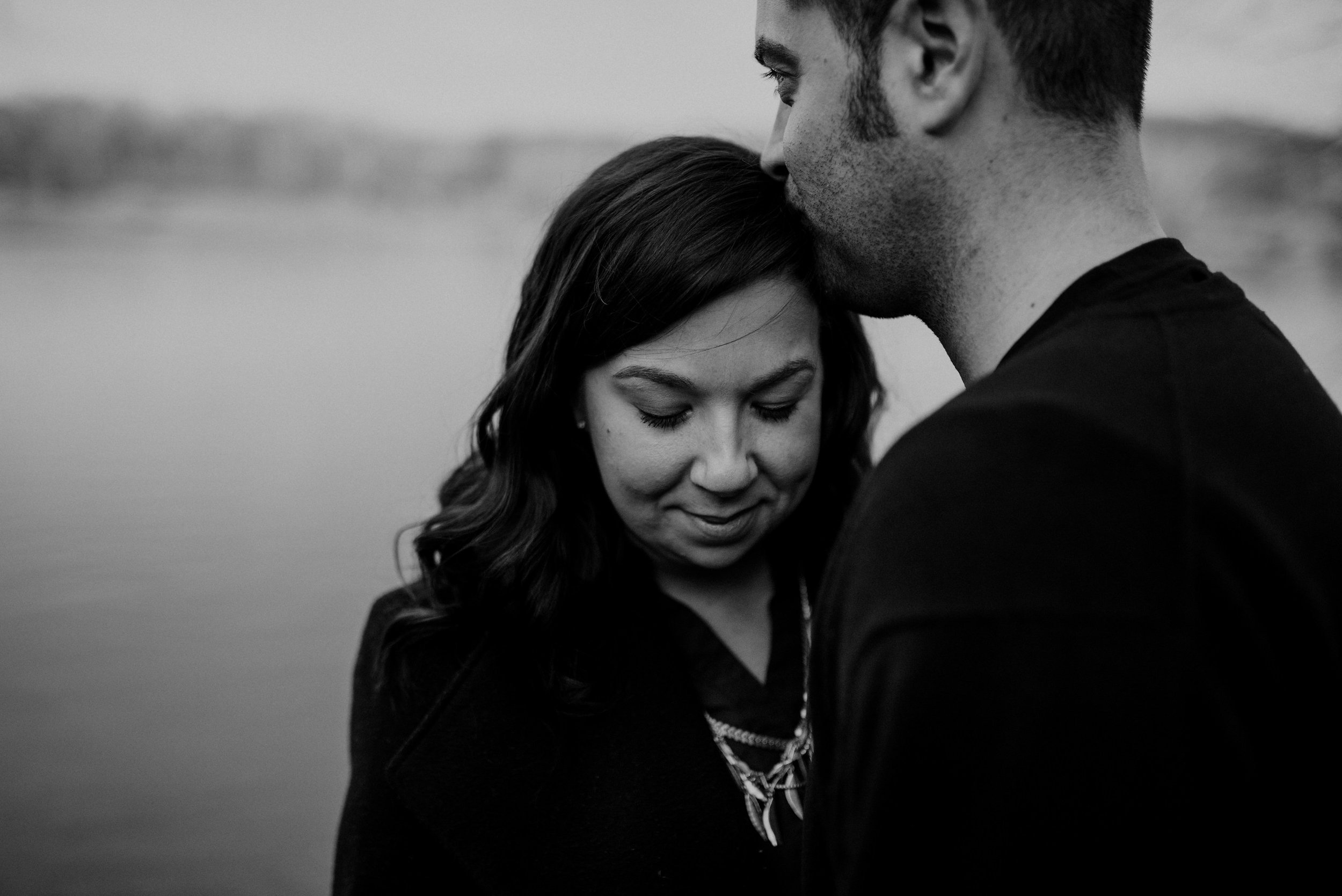intimate black and white engagement photo at Great Falls Park in Virginia