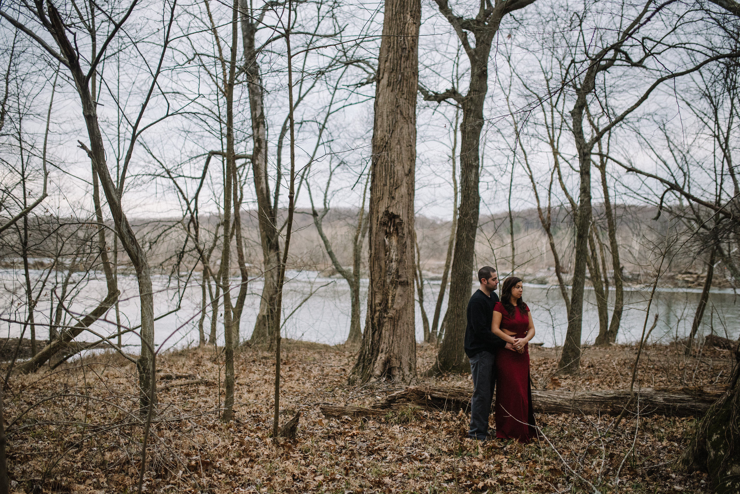 dramatic portrait from an engagement session in great falls park va