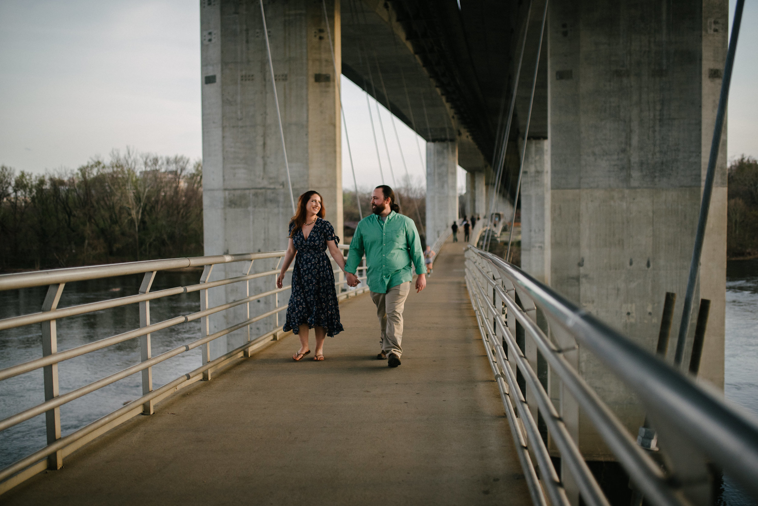 sunset engagements on the bridge
