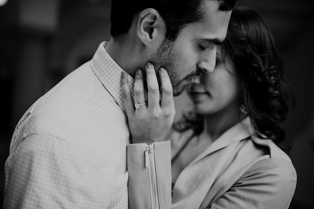 black and white intimate dc engagement