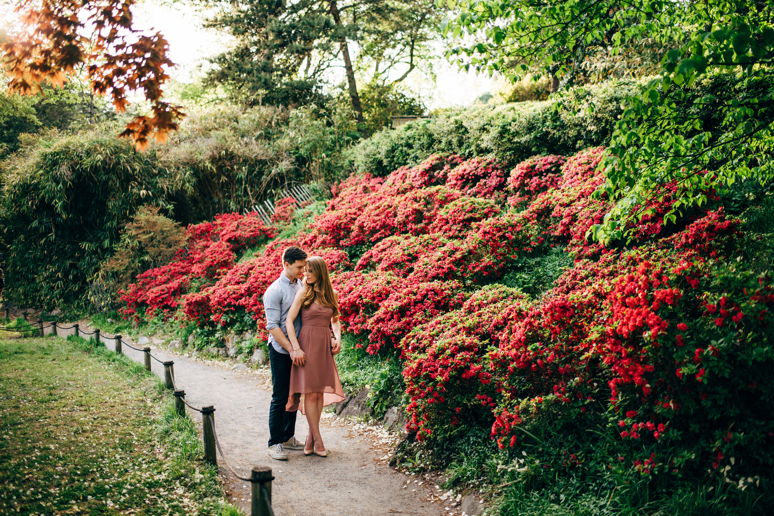 park engagement photos on walkway in front of red flowers