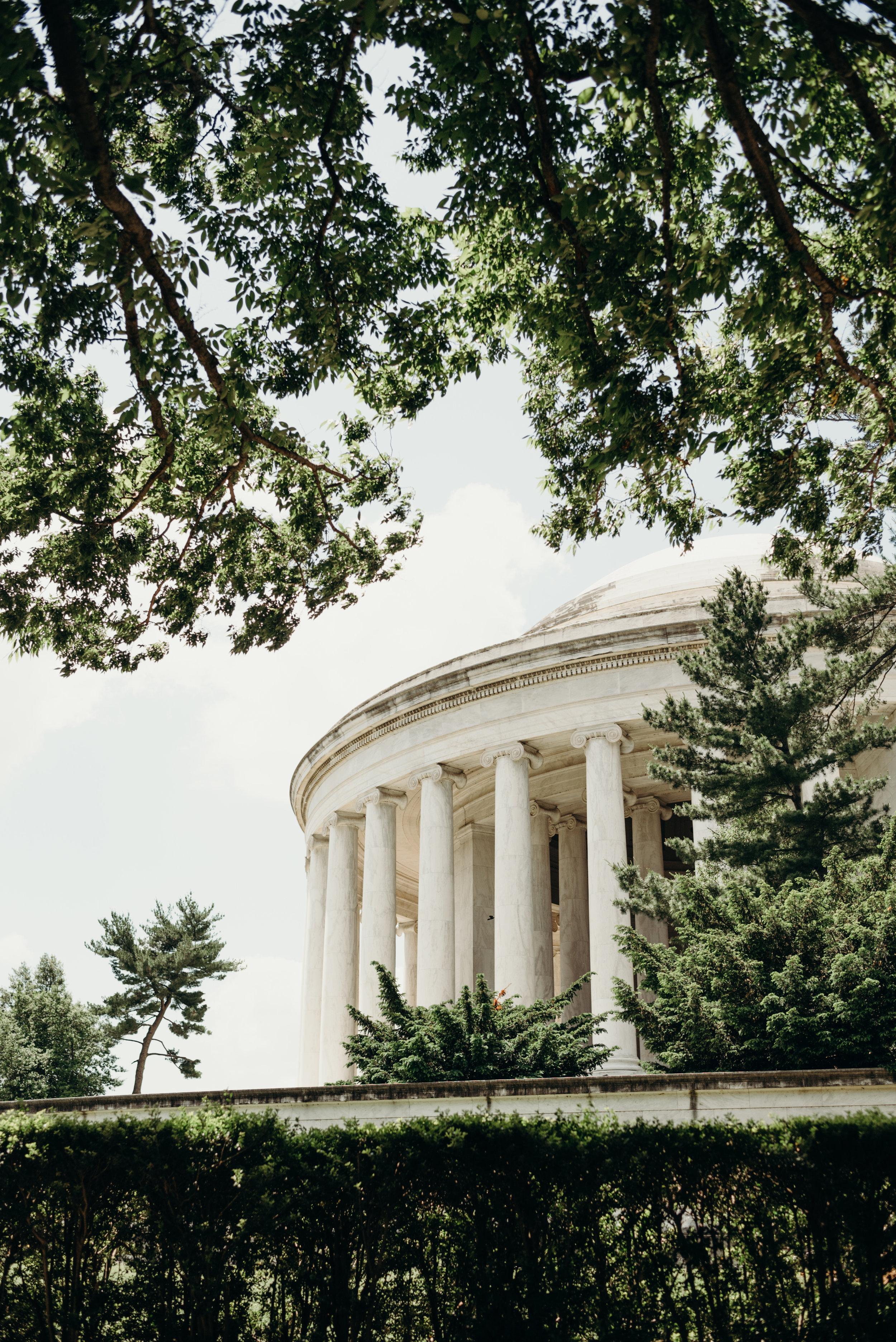 Thomas Jefferson Memorial among trees