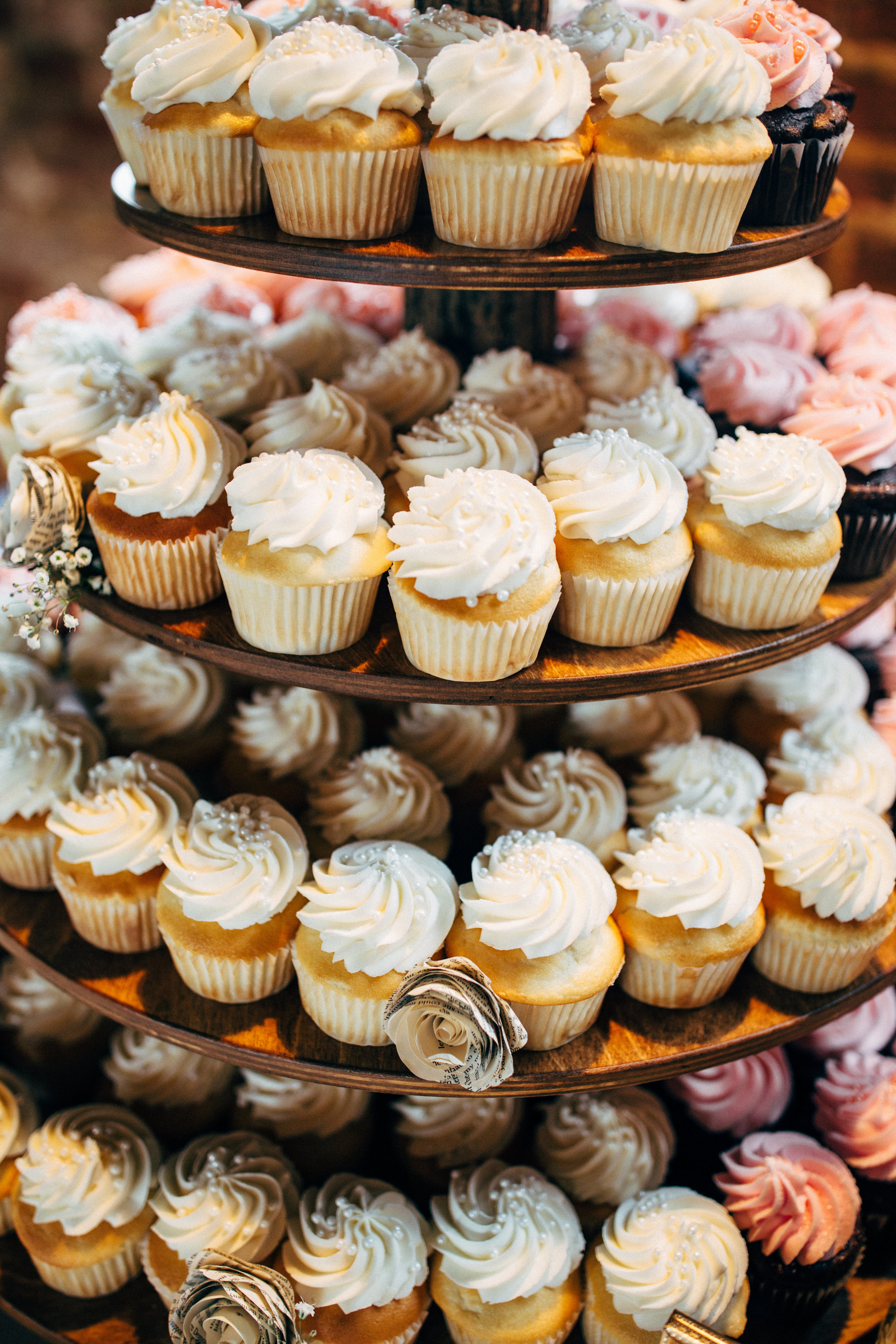 cupcake tower by Laura Brletic for wedding reception in Fredericksburg, Virginia