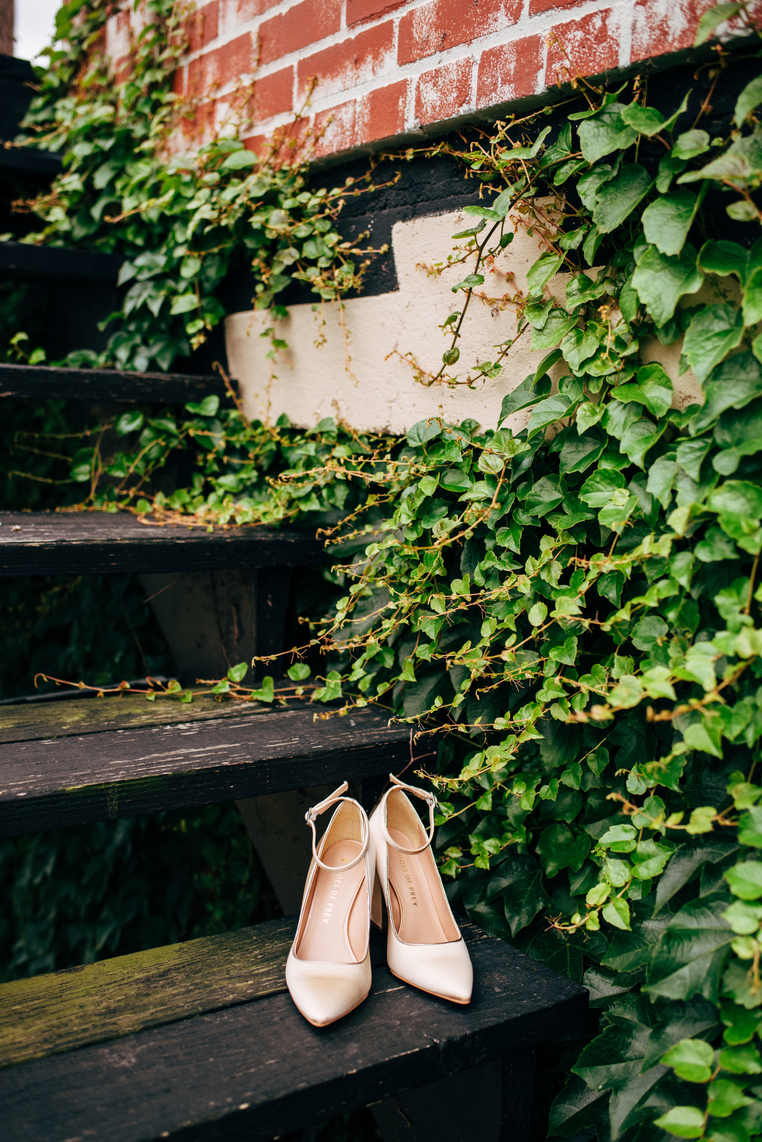 Bride's wedding shoes on a step with ivy and brick in background