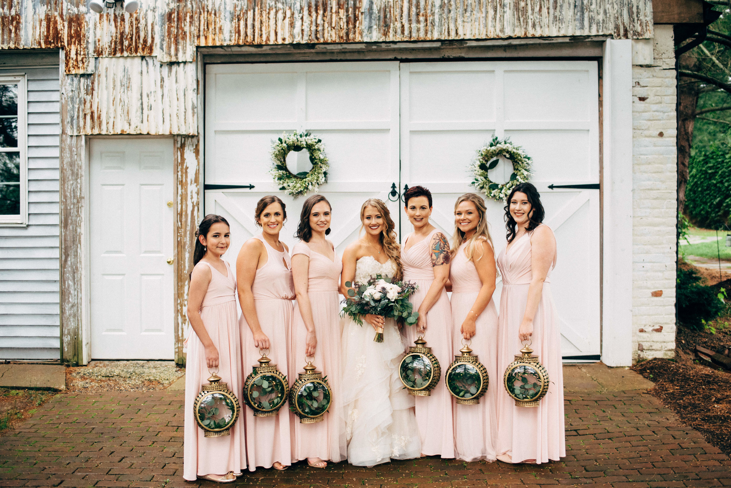 fairy-tale bride with her bridal party