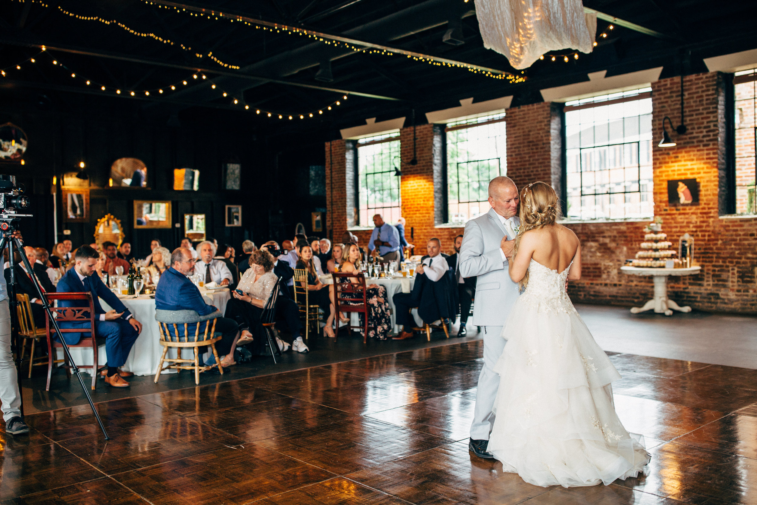 bride and her father dancing at wedding reception at the Inn at the Old Silk Mill
