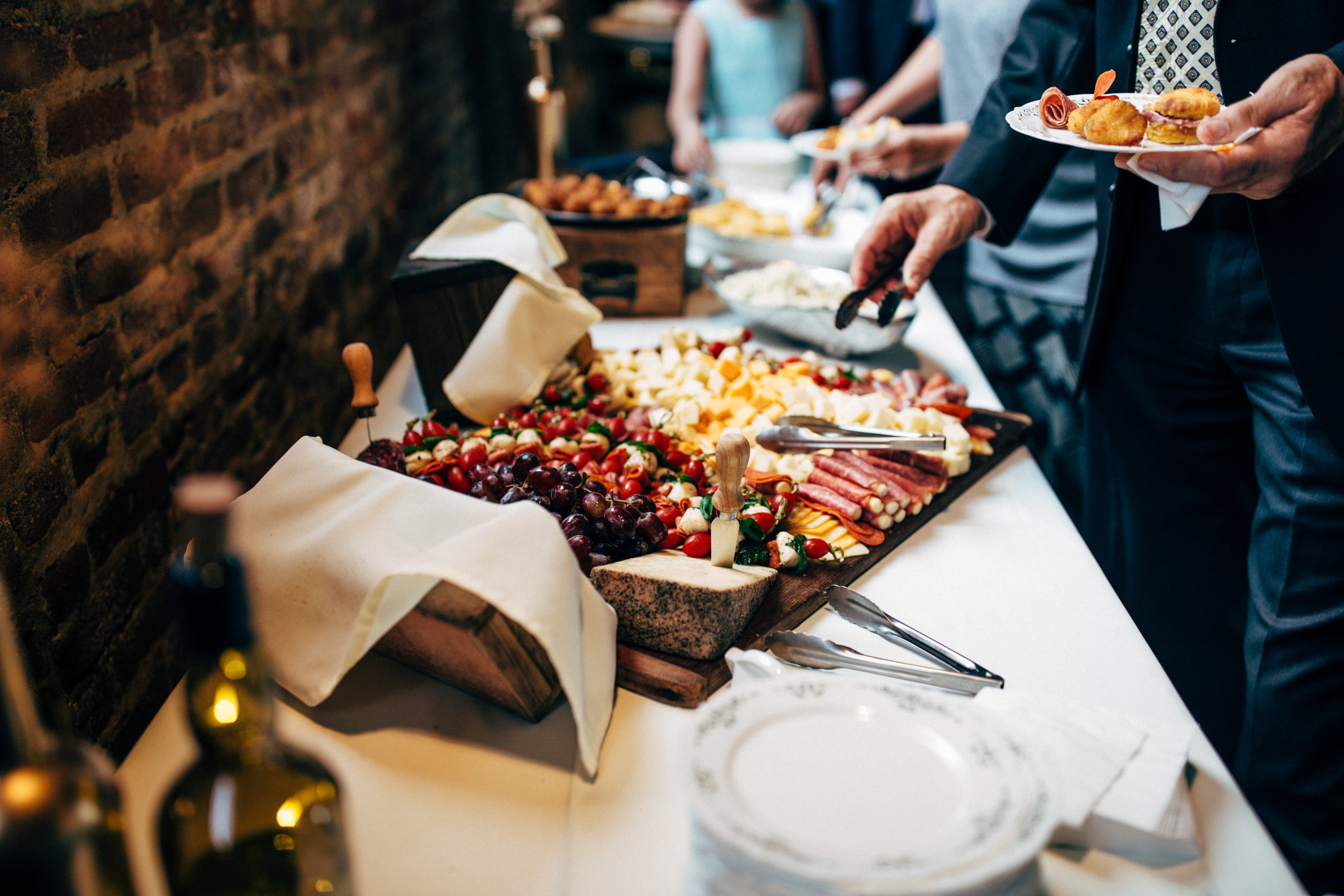 charcuterie board during cocktail hour at wedding reception at the Inn at the Old Silk Mill