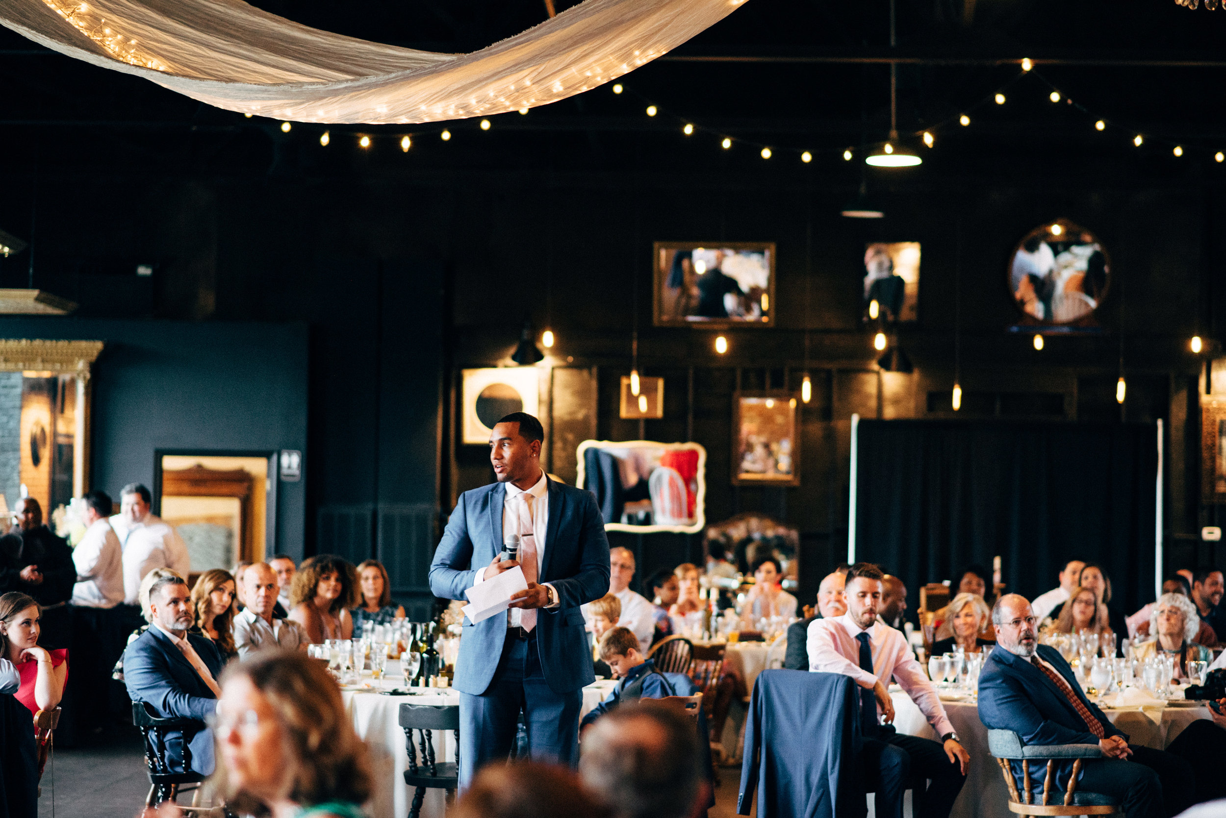 best man making toast during wedding reception at the Inn at the Old Silk Mill