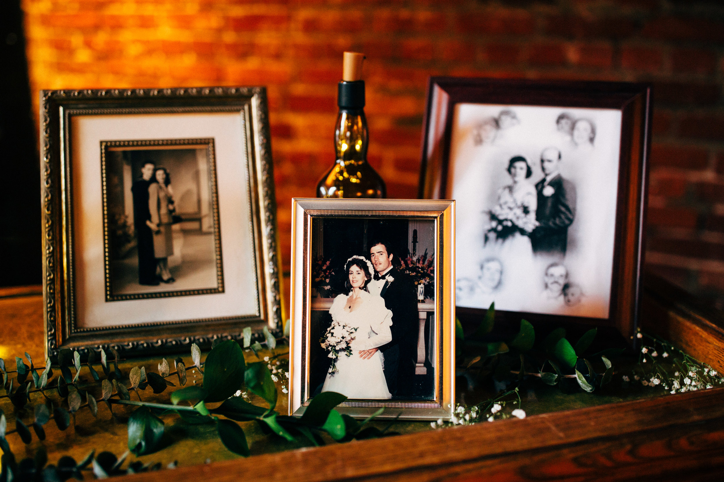 old wedding photo in a frame at wedding reception