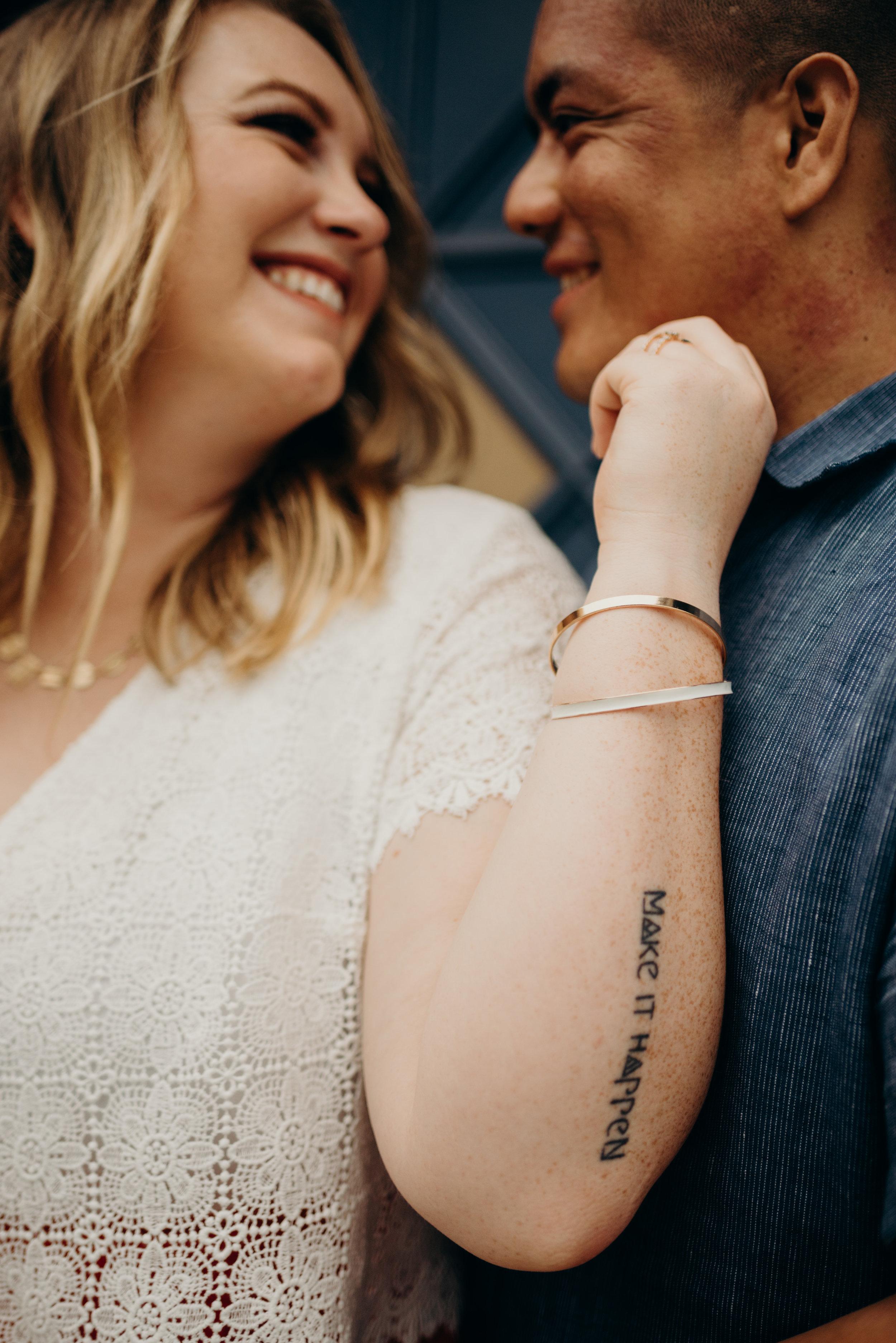 closeup of engaged couple in Washington, DC