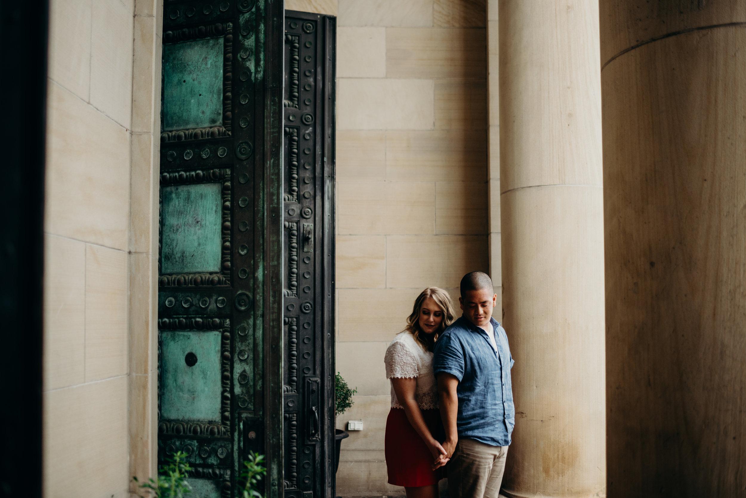 engaged couple outside the LINE hotel in Washington, DC