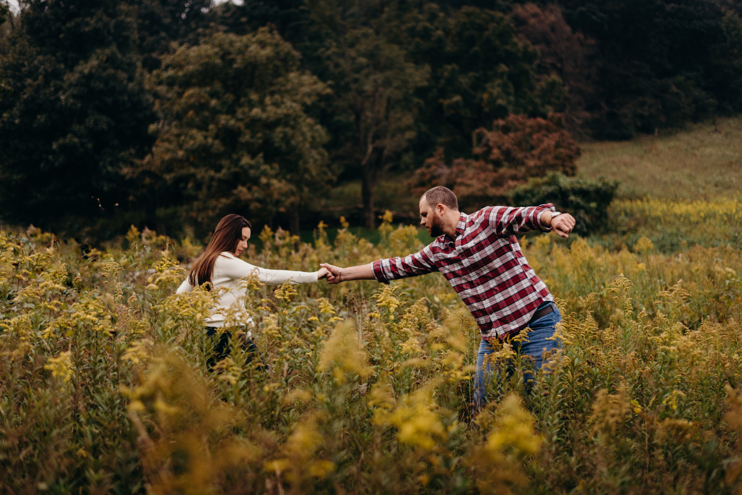 helping girlfriend through the yellow flowers at skyline drive shenandoah valley