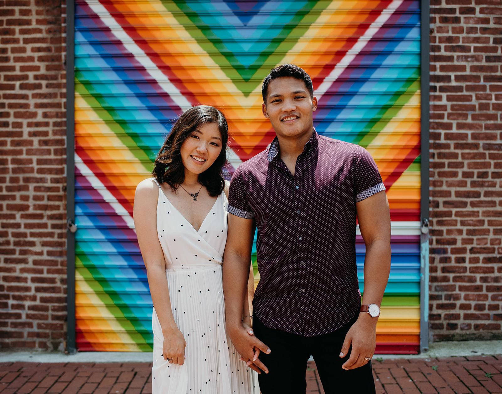 Washington DC love mural engagement session colorful rainbow smiles