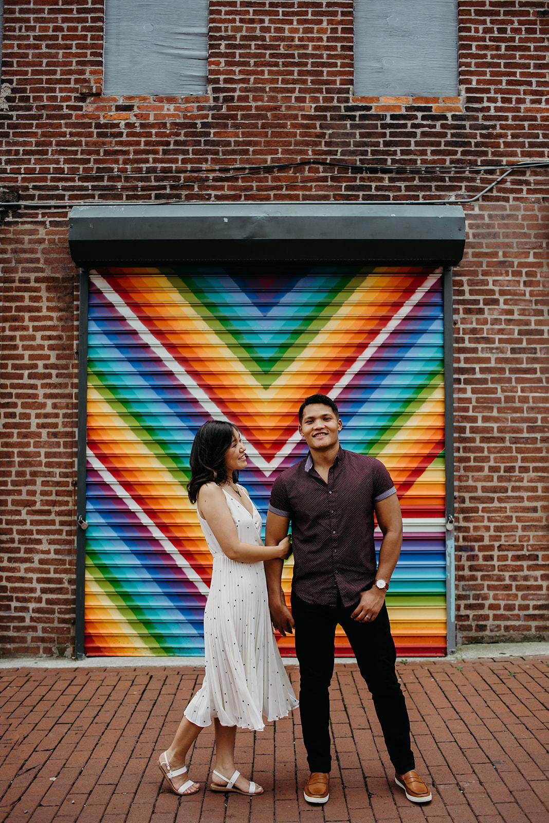 Washington DC love mural engagement session colorful rainbow