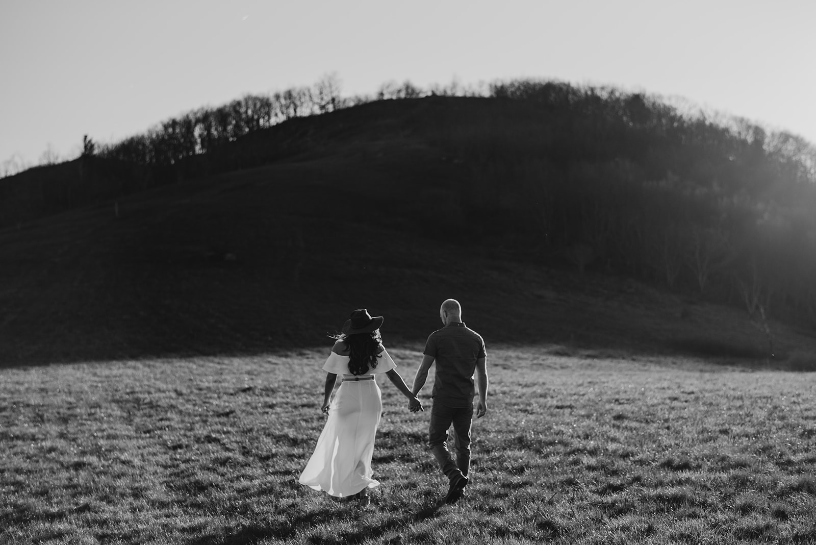 Virginia mountain engagement session Shenandoah valley at sunset black and white