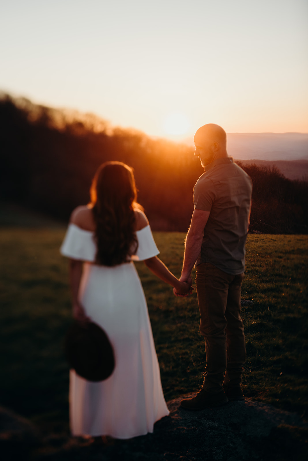 Virginia mountain engagement session Shenandoah valley at sunset tilt shift