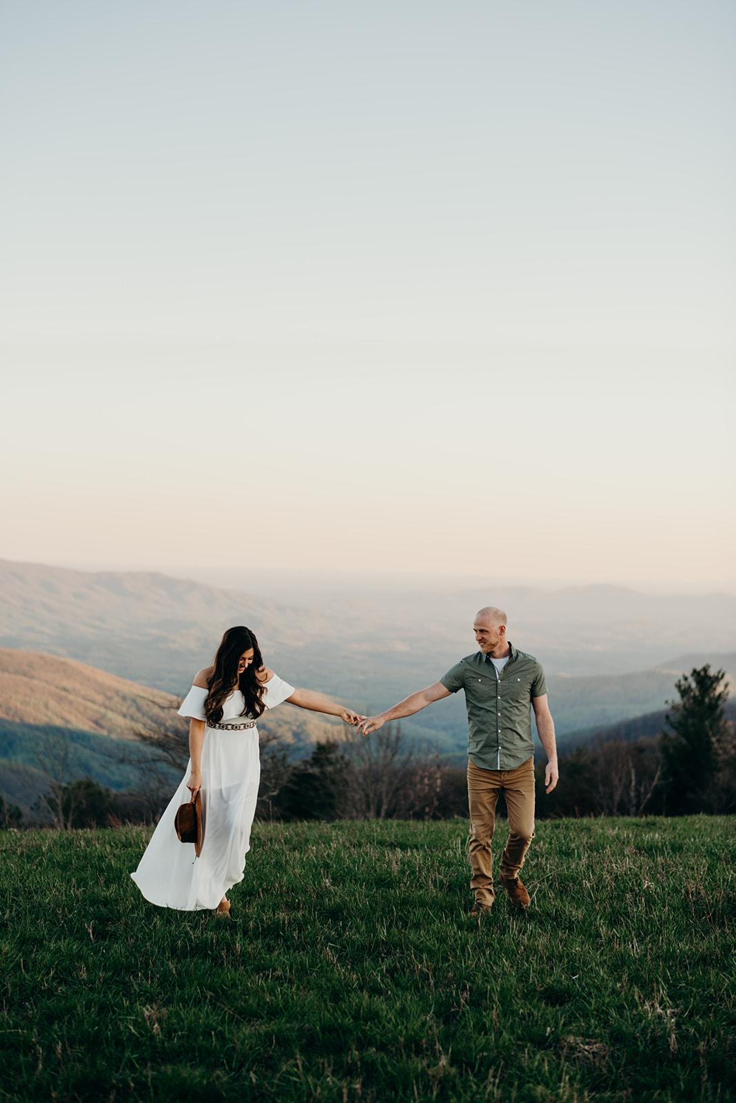 Virginia mountain engagement session Shenandoah valley at sunset