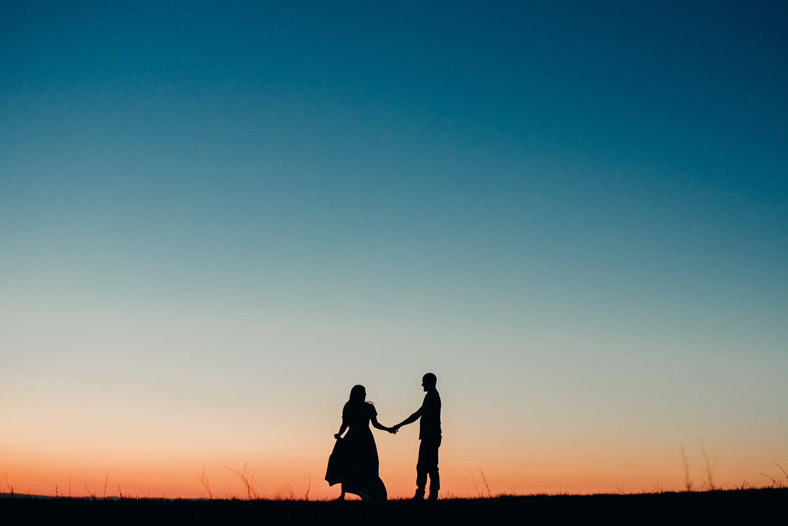 Virginia mountain engagement session Shenandoah valley at sunset silhouette dance