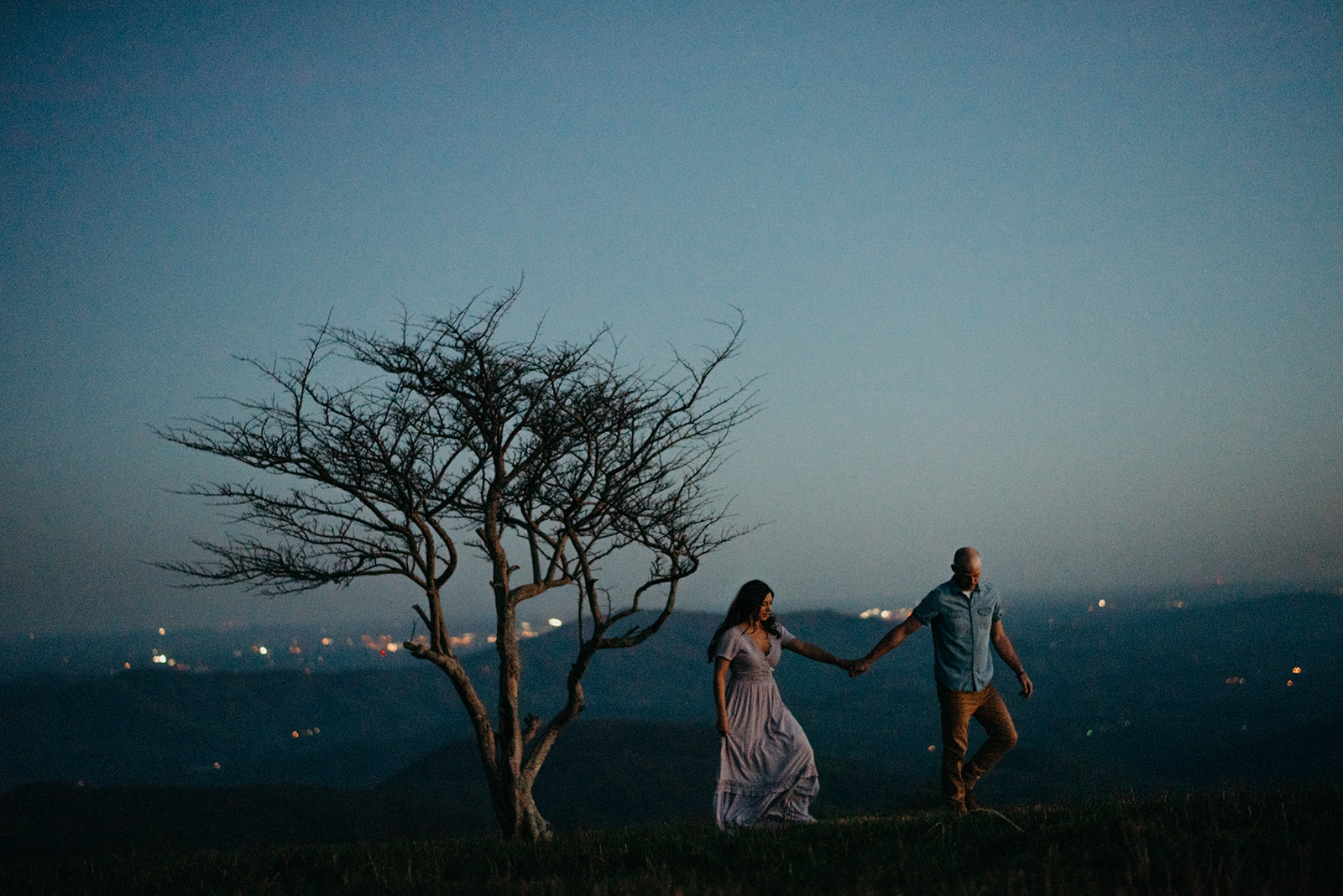 Virginia mountain engagement session Shenandoah valley at sunset blue hour