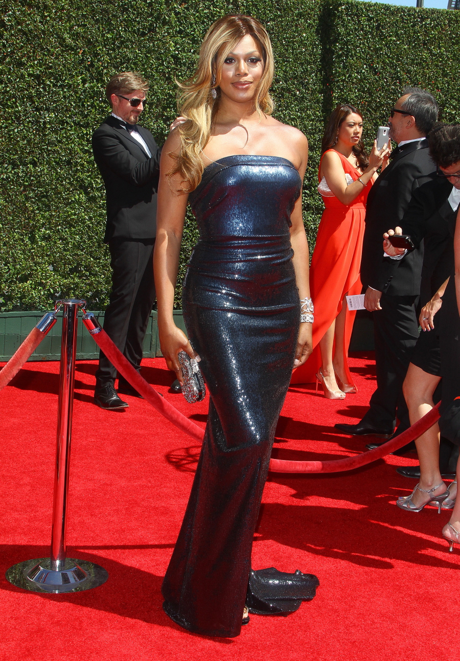Laverne Cox, 2014 Creative Arts Emmys (nominee for Outstanding Guest Actress in a Comedy Series). Wearing Donna Karan, Neil Lane and Paul Morelli jewelry, Stuart Weitzman shoes and a Marchesa clutch