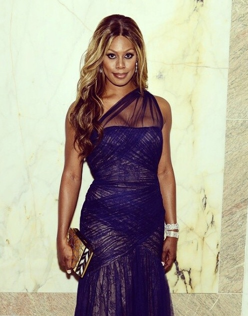 Laverne Cox, amFAR Gala 2014 NYC.Wearing Monique Lhuillier, a Rafe clutch and Kenneth Jay Lane jewelry